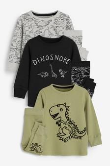 Khaki Dinosnore 3 Pack Snuggle Pyjamas (9mths-12yrs)