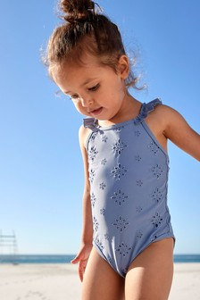Blue Broderie Swimsuit (3mths-7yrs)