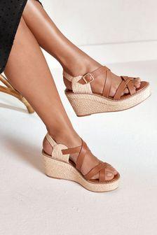 Tan Strappy Espadrille Wedge Sandals