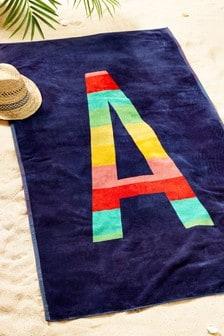 Blue Alphabet Beach Towel