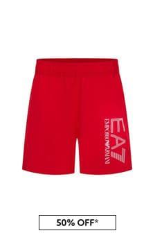 EA7 Emporio Armani Boys Red Swim Shorts