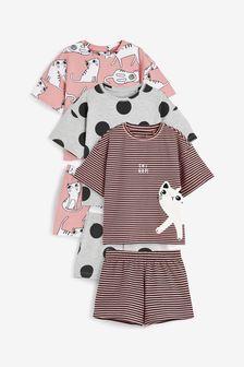Pink/Grey Cat 3 Pack Short Pyjamas (3-16yrs)
