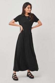 Black Column Maxi T-Shirt Dress