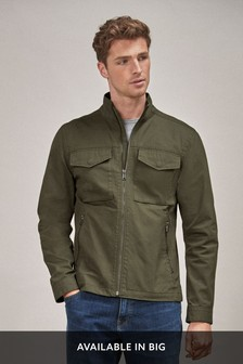 Khaki Cotton Lightweight Funnel Neck Jacket