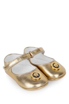 Versace Baby Girls Gold Leather Pre-Walker Shoes