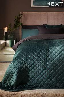 Bottle Green Bottle Green Hamilton Velvet Quilted Bedspread