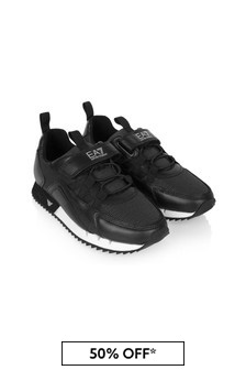 EA7 Emporio Armani Boys Black Leather Trainers