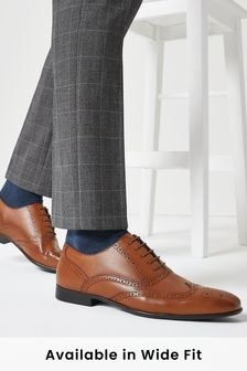 Tan Leather Oxford Brogue Shoes