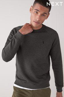 Charcoal Grey With Stag Crew Sweatshirt