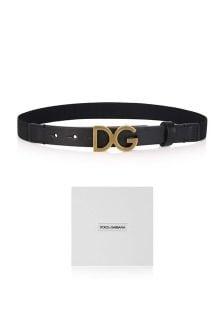 Dolce & Gabbana Kids Boys Black Logo Buckle Belt