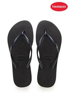 Ladies Plain Black Floral Floralz Flip Flop Sandals Summer