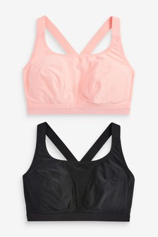 Coral/Black High Impact Sports Crop Tops Two Pack