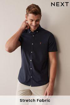 Navy Blue Short Sleeve Stretch Oxford Shirt