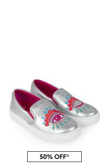 Kenzo Kids Girls Silver Leather Shoes