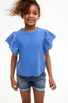 Blue Broderie Frill Sleeve Top (3-16yrs)