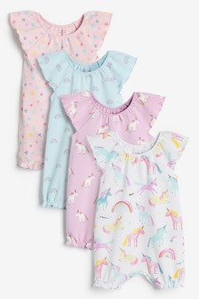 Pink Unicorn 4 Pack Rompers (0mths-3yrs)