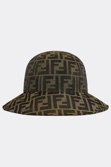Fendi Kids Brown Cotton Hat