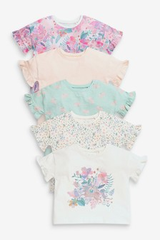 Pink Unicorn 5 Pack Cotton T-Shirts (3mths-7yrs)