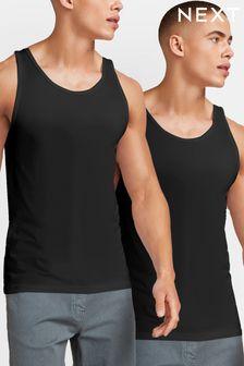 Black Vests Pure Cotton Two Pack