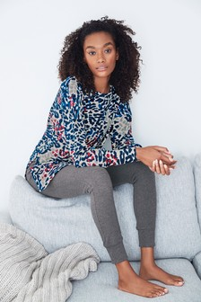 Charcoal Jungle Print Supersoft Fleece Tunic