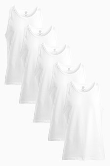White Vests Five Pack