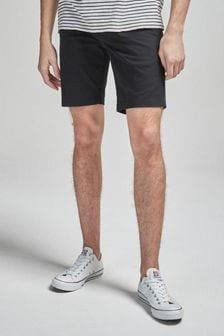 Black Stretch Chino Shorts