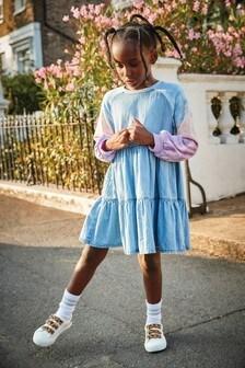 Tie Dye Raglan Tiered Denim Dress (3-16yrs)
