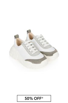 Bonpoint Boys Grey Leather Trainers