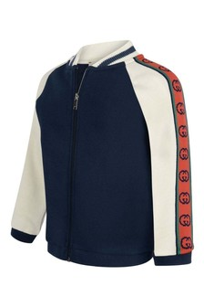 GUCCI Kids Baby Boys Blue Cotton Zip Up Top