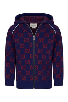 GUCCI Kids Baby Boys Wool Knitted GG Zip Up Cardigan
