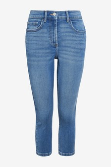 Mid Blue Super Soft Elasticated Waist Cropped Skinny Jeans