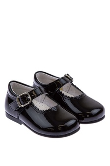 Andanines Girls Patent Black Scalloped Edge Mary Jane Shoes
