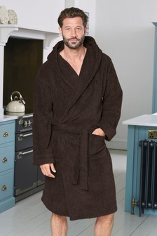 Brown Super Soft Hooded Dressing Gown