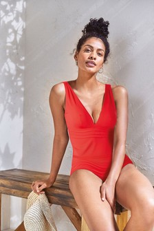 Red Sculpt And Shape Plunge Tankini Top