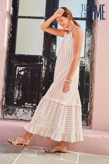 Metallic Stripe Lightweight Cotton Tiered Maxi Dress