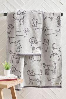 Grey Grey Dog Print Towel
