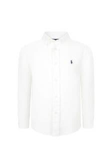 Ralph Lauren 키즈 보이즈 화이트 리넨 셔츠