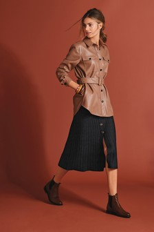 Tan Faux Leather Belted Shirt Jacket