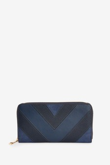 Navy Splice Detail Leather Look Large Purse