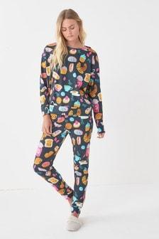 Charcoal Breakfast Cotton Pyjamas