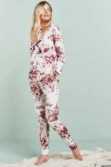 White/Pink Floral Cotton Pyjamas