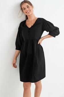 Black Maternity/Nursing Button Front Smock Dress