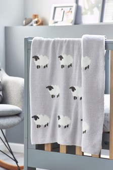 Grey Counting Sheep Knitted Blanket