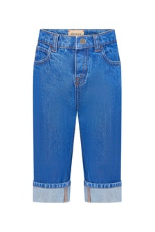 GUCCI Kids Baby Girls Blue Cotton Jeans