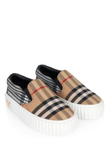 Burberry Kids Beige Cotton Trainers