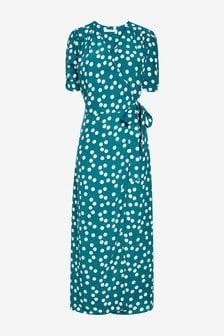 Teal/Ecru V-Neck Midi Dress