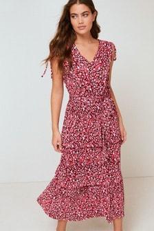 Pink Floral Plissé Midi Dress