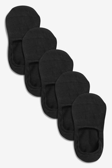 Black Invisible Trainer Socks Five Pack