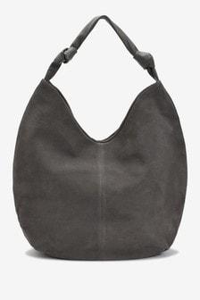 Grey Suede Slouchy Hobo Bag