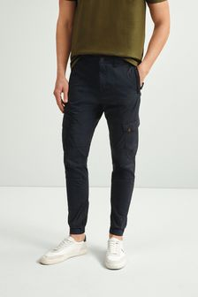 Navy Elasticated Tech Cargo Trousers